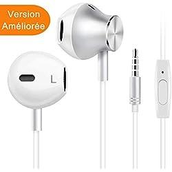 Écouteurs Intra-Auriculaires avec Micro, Casque de Musique pour iPhone, Samsung, Android, Jack 3.5mm Universel, Anti Bruit, Riche en Basses (Version améliorer)