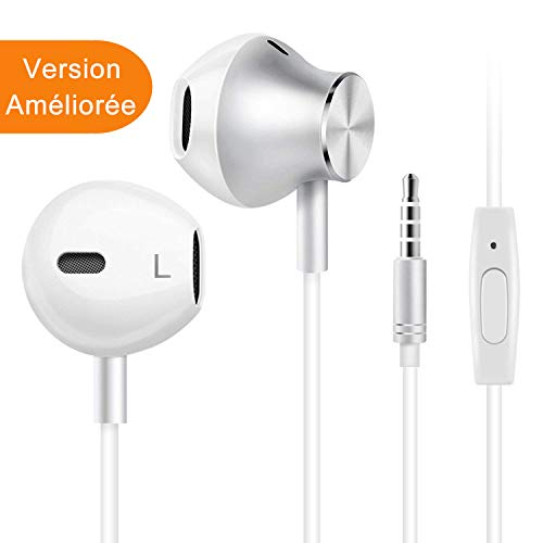 Écouteurs Intra-Auriculaires avec Micro, Casque de Musique pour iPhone, Samsung, Android, Jack 3.5mm Universel, Anti Bruit, Riche en Basses (Version améliorer)