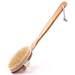 Long Handle Bath Body Brush with Detachable Head and Natural Bristles