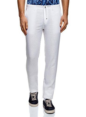 oodji Ultra Homme Pantalon en Lin avec Liens à Nouer, Blanc, FR 44 (L)