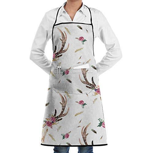 xcvgcxcvasda Einstellbare Latzschürze mit Tasche, Flowers Boho Aztec Beauty Floral Schürze, Unisex Kitchen Bib Schürze with Adjustable Neck for Cooking Baking Gardening, Multicolor
