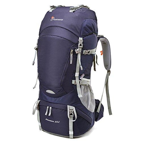 MOUNTAINTOP 55L Erwachsene Trekkingrucksäck Wanderrucksack Rucksack für Reisen Outdoor Klettern Camping mit Regenhülle (Lila-55L)