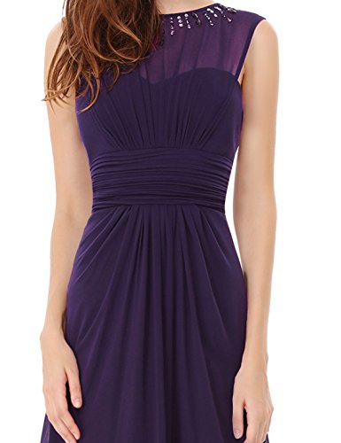Ever Pretty Robe de Soiree Maxi Col Rond Elegante 08589 Violet