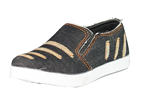 Red Rose Men's Black Denim Loafer Shoes (7, Black)  available at amazon for Rs.199