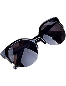 11f92ee706 HARRYSTORE Gafas De Sol De Gato Mujer Retro Semi Redondas Aviador De  Plástico Marco Del Espejo