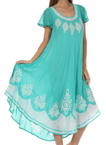 Sakkas Batik Hindi Flügelärmeln Kaftan Kleid / zudecken Minze