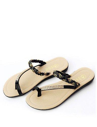 f3af4f03c03592 ShangYi Sandaletten für Damen Damenschuhe Halbschuhe Lässig Kunststoff   Kunstleder  Flacher Absatz Flip Flops Schwarz   Grün   Weiß Black
