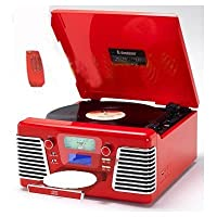 Steepletone Roxy 3 CD Encode 60s Style Record Player and CD System with MP3 Playback - Red