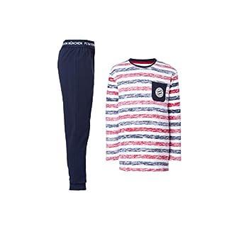 FC Bayern München Schlafanzug Kids, Pyjama gestreift für Kinder, Größe 152