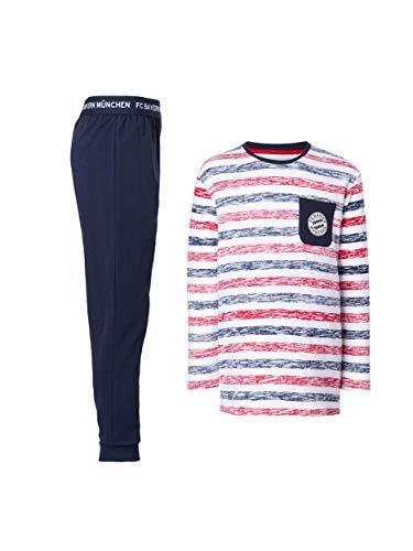 FC Bayern München Schlafanzug Kids, Pyjama gestreift für Kinder, Rot/Weiß, 128