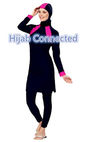 Muslimischen Damen Badeanzug Muslim Islamischen Full Cover Bescheidene Badebekleidung Modest Muslim Swimwear Beachwear Burkini (Int'l – S, Hijab Connected-7) - 2
