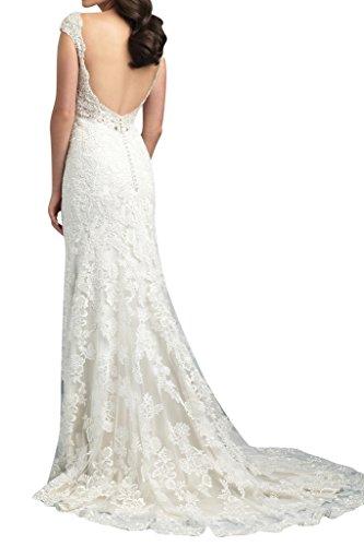 Gorgeous Bride Luxury Rundkragen Meerjungfrau Satin Spitze Lang Abendkleider Festkleid Ballkleid Z-Wassermelone