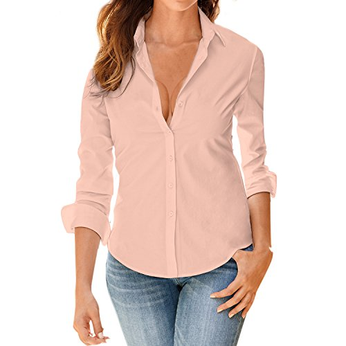LAEMILIA Damen Blusen Langarm Beiläufig Elegante Stretch T-Shirt Hemd Lose Boyfriend Stil Langarmshirt Tops Oberteil (XXL(42), Rosa) (Top Rosa Tunika)