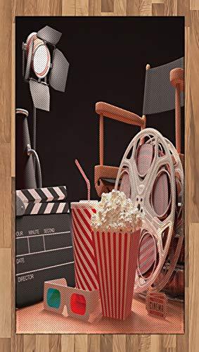 ABAKUHAUS Kino Teppich, Filmindustrie, Flachgewebe Deko-Teppiche fürs Wohnzimmer Schlafzimmer und Essenszimmer, 80 x 150 cm, Multicolor