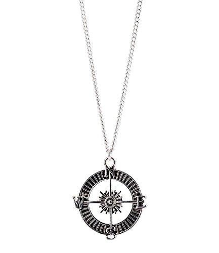 SIX MAN Schmuck, Silberne Kompass Halskette, für Ihn (275-855)
