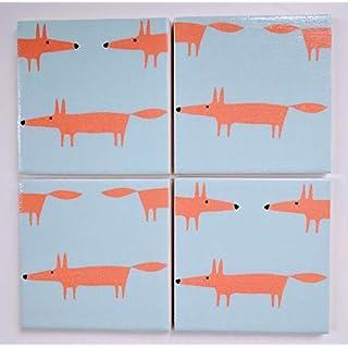 Ceramic Coasters in Scion Little Fox Aqua and Orange