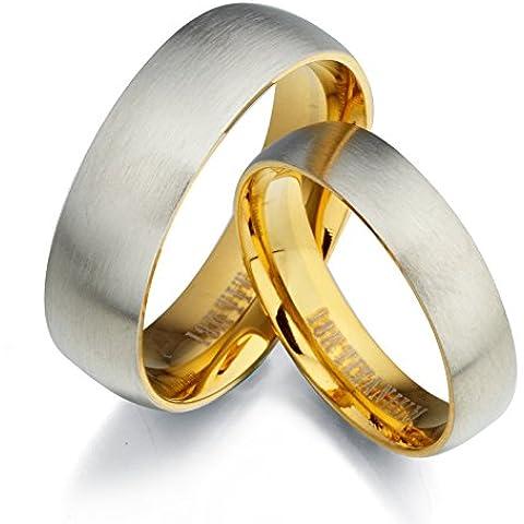 Gemini sposo e sposa due tono Oro Giallo 18K e set di spazzola e smalto (Titanio 7 Mm Matt)