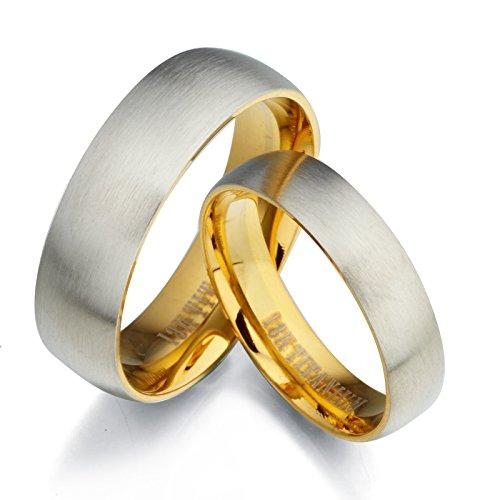 Gemini sposo e sposa due tono Oro Giallo 18K e set di spazzola e smalto (Oro Giallo Mens Wedding Band)