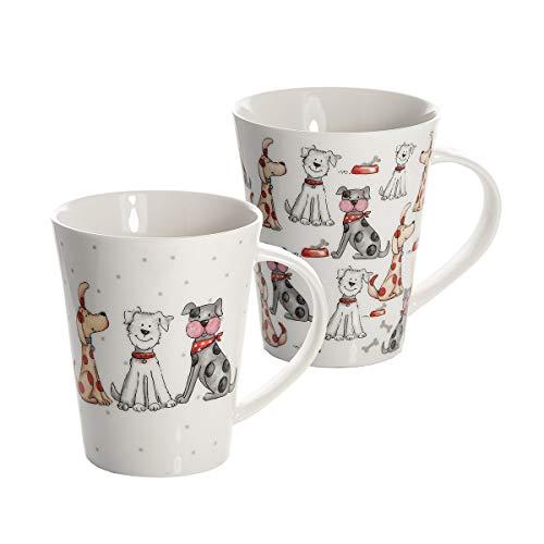 SPOTTED DOG GIFT COMPANY 2 Set große Tassen Kaffeebecher Kaffeetasse Mugs Set Keramik Porzellan, Spülmaschinenfest weiß mit Hunde Design Geschenk für Hundeliebhaber