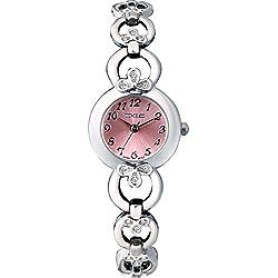 Time100 Ladies' Fashion Romantic Clover Diamond Pink Dial Bracelet Watch #W50053L.03A