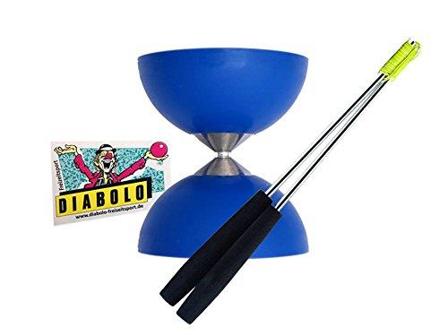 Diabolo Acrobat (Blau) + Handsticks Aluminium (Schwarz) + Aufkleber