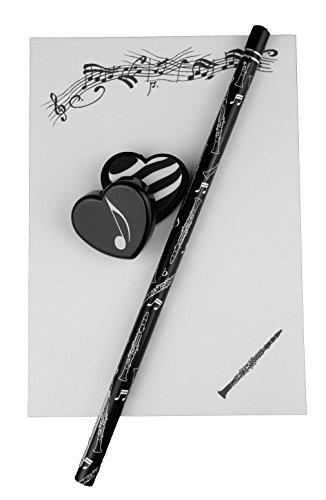 Notizblock mit Bleistift und Radiergummi Klarinette - Schönes Geschenk für Musiker