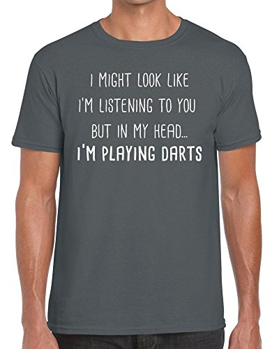 Funky NE Ltd I Might Look Like I'm Listening But in My Head. I'm Playing Darts - Tshirt - 100% Cotton - Small to XXL - 15 Colours - Great Gift Idea by