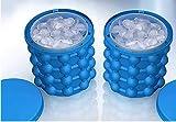 HUIHUI Eiswürfel, Eiswürfel Wiederverwendbar Eisbehälter Silikon mit deckel 2in1 Funktion Eiseimer Reusable ice cubes für Wasser, Coke, Bier, Cocktails, Whisky (Blau, 120 ice cubes)