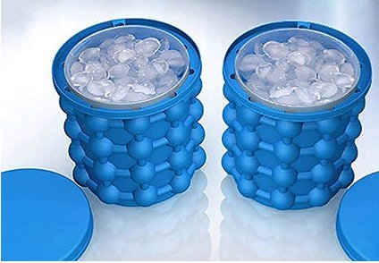 HUIHUI Eiswürfel, Eiswürfel Wiederverwendbar Eisbehälter Silikon mit deckel 2in1 Funktion Eiseimer Reusable ice cubes für Wasser, Coke, Bier, Cocktails, Whisky (Blau, 120 ice cubes)