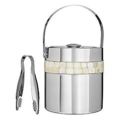 Idea Regalo - Premier Housewares secchiello per il ghiaccio con intarsi in madreperla, colore argento