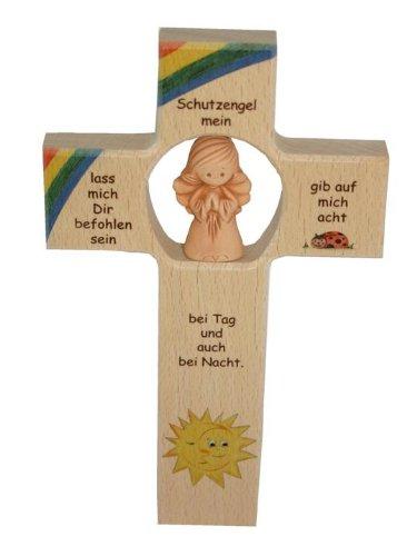 Kinderkreuz mit Tonengel 'Schutzengel mein', 20 x 12 cm