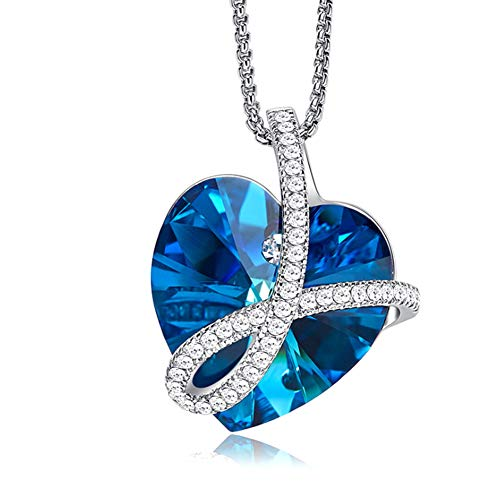 XINGYU Kette Damen Silber 925 mit anhänger Herz mit Swarovski Kristallen Fein Moderne 5A Zirkonia Exquisite Schmuck Geschenk für Frau, Blue
