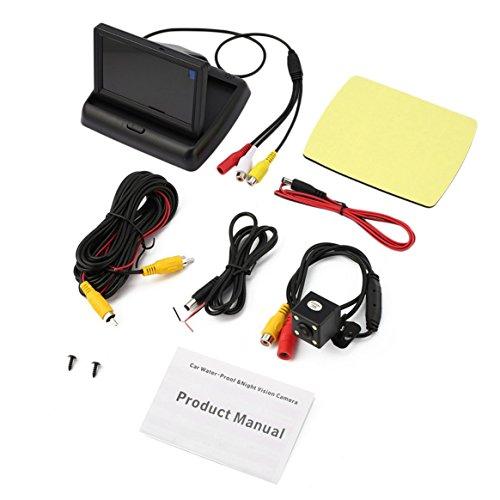 Auto Rückfahrhilfe Kit mit Folding Monitor + 4 LED Rückfahrkamera HD Wasserdicht 12V Auto Backup Parking System