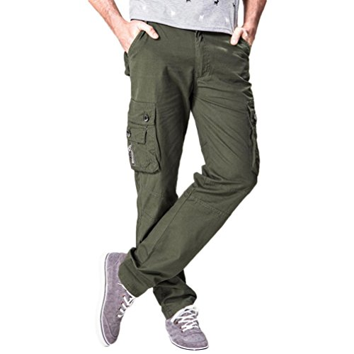 Paolian Pantalon décontracté Confortable de la personnalité des Hommes de Mode, Pantalon d'outillage Multi-Poches de Tirette de Couleur Unie