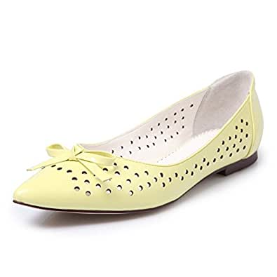 AalarDom Women's Patent Leather Pointed Closed Toe No Heel Pull On Solid Pumps Shoes, Yellow, 38