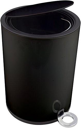 Kosmetikeimer - Poppis Mülleimer 3l und 12l mit Softclose-System - Badeimer mit Absenkautomatik (Schwarz 3 Liter)