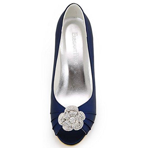 ElegantPark WP1547 Damen Rose Blumen Strass Schuh Clips Pumps Keilsatz Hochzeit Partei Satin Brautschuhe Marineblau