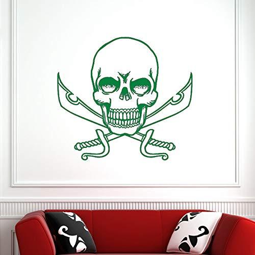 guijiumai Dctal Schädel Halloween Schwerter Aufkleber Punk Death Decal Devil Poster Name Autofenster Kunst Wandtattoos Parede Decor Mu 6 80x88cm