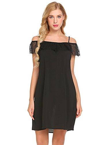 Damen Negligee Sexy Nachthemd Spitze Nachtkleid Sommer Nachtwäsche Unterwäsche Sleepwear Kurz Trägerkleid ,Farbe : Schwarz, Größe : L/EU 40 44