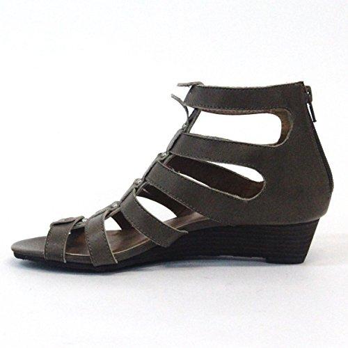 Lucky marchio open-punta gladiator sandali, taglia 3,5, da £98 Marrone (grigio)