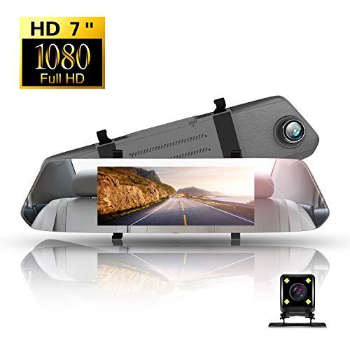 Dashcam Full HD,Directtyteam Autokamera Dashcam Rückfahrkamera Set Autokamera 1080P DVR mit 170° Weitwinkelobjektiv,Loop-Aufnahme,WDR,Infrarotfunktion, Parkmonitor,Bewegungserkennung,Nachtsicht und G-Sensor