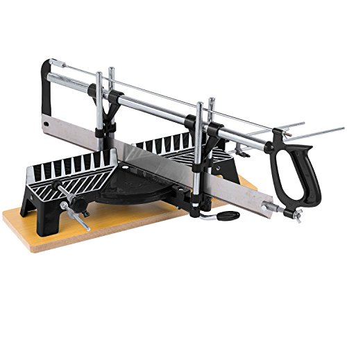 Kapp- und Gehrungssäge, Hand-Tischsäge 550 mm Blattlänge mit Holzgrundplatte