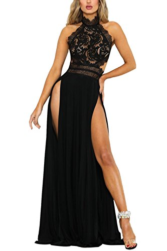 Abend Kleid Party Kleid (YACUN Damen Lang Kleid Sommer Maxi Hoch Split Spitzen Abend Rückenfrei Party Kleid Schwarz M)