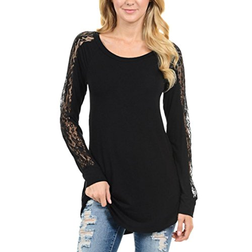 Koly_Donna Lace Stitching dal O-Collo camicetta camicia delle parti superiori (S, Nero)