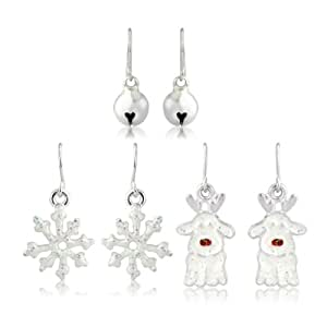 Christmas Rudolph Earrings And Snowflake Earrings And Silver Stud Earrings