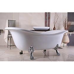 Casa Padrino Freistehende Luxus Badewanne Jugendstil Paris Weiß/Silber 1880mm - Barock Badezimmer