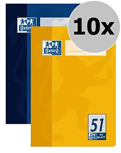 Format Tinte Gelb (OXFORD 100050396 Oktavheft Schule 10er Pack A6 Lineatur 51 - liniert 32 Blatt sortiert gelb & blau)