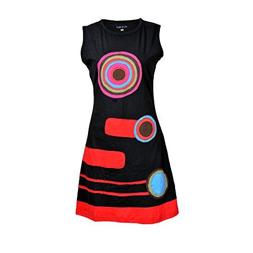 Damen ärmelloses Kleid mit bunten Kreis- (Ärmelloses Kreis)
