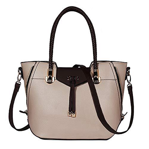 TIBES Top Handtaschen Damen Satchel Handtasche Schulter beutelt PU-Leder schulterhandtaschen für Damen Tasche Beige (Damen-schulter-handtaschen)