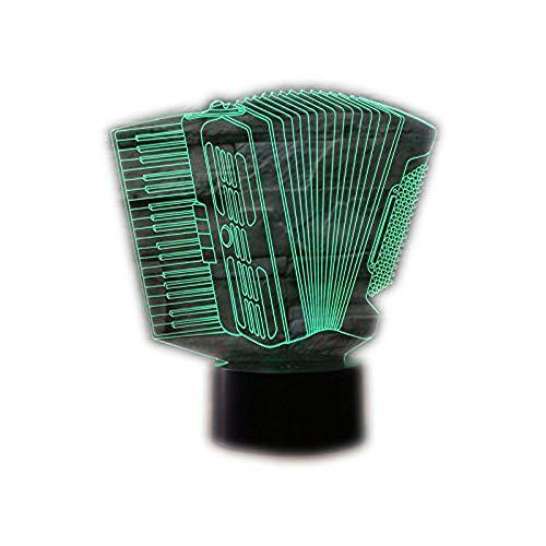 3D Lampe 3D Leuchte 3D LED Stimmungslicht. 7 verschiedene Farben wählbar - Auswahl aus 81 verschiedenen Motiven, Akkordeon 21x15cm inkl.Sockel - 3D Illusion Dekolicht mit USB Anschluß